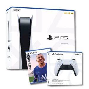 באנדל סוני פלייסטיישן 5 עם דיסק + משחק פיפא 22 - PLAYSTATION 5 + FIFA 22 וידית נוספת